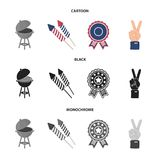 Barbecue, salute, voting ebblema, victory. The patriot day set collection icons in cartoon,black,monochrome style vector. Symbol stock illustration Royalty Free Stock Photos