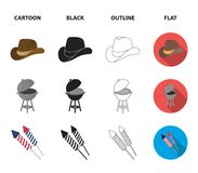 Barbecue, salute, voting ebblema, victory. The patriot day set collection icons in cartoon,black,outline,flat style. Vector symbol stock illustration Royalty Free Stock Photo