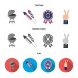 Barbecue, salute, voting ebblema, victory. The patriot day set collection icons in cartoon,flat,monochrome style vector. Symbol stock illustration Royalty Free Stock Image