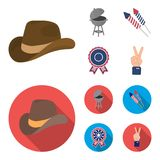 Barbecue, salute, voting ebblema, victory. The patriot day set collection icons in cartoon,flat style vector symbol. Stock illustration Royalty Free Stock Image