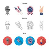 Barbecue, salute, voting ebblema, victory. The patriot day set collection icons in cartoon,outline,flat style vector. Symbol stock illustration Royalty Free Stock Photo