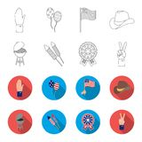 Barbecue, salute, voting ebblema, victory. The patriot day set collection icons in outline,flat style vector symbol. Stock illustration Stock Image