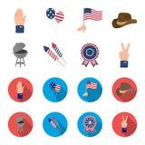 Barbecue, saluto, ebblema di voto, vittoria Le icone stabilite della raccolta di giorno del patriota nel fumetto, simbolo piano d Immagine Stock