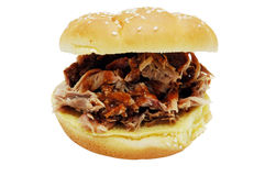 Barbecue Sandwich. Barbecue pork sandwich.  Isolated image with clipping path Stock Photos