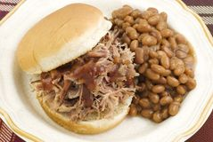 Barbecue Sandwich with Baked Beans Stock Photo