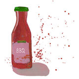 Barbecue sauce bottle with splashes. BBQ sauce bottle with watercolor splashes. Barbeque dressing. Sketchy illustration royalty free illustration