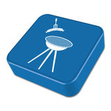 Barbecue sausage icon. On the button. Vector illustration Stock Image