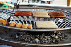 Barbecue with sausages stock image