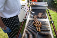 Barbecue. sausages. beef burger. hamburger. grill. Royalty Free Stock Images