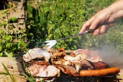 Barbecue. Sausages, chicken thighs, steaks, bacon on a grill grate. Royalty Free Stock Photo