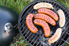 Barbecue sausages Stock Images