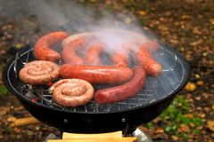 Barbecue sausages on mangal. Royalty Free Stock Image