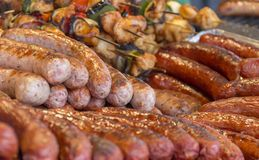 Various barbecued sausages Royalty Free Stock Photo