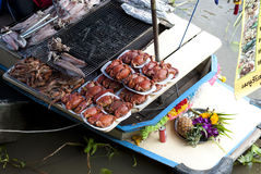 Barbecue Seafood from Ampawa Floating Market, Thailand Stock Photography