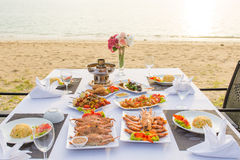 Barbecue seafood for dinner by the sea Royalty Free Stock Image