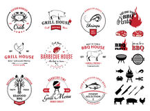 Barbecue, Seafood Logos, Labels and Design Elements Royalty Free Stock Photo