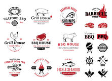 Barbecue, Seafood Logos, Labels and Design Elements. Barbecue, seafood, steak house design elements, labels, badges, emblems and icons Stock Photo