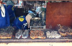 Barbecue seafood on street market stock photography