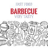 Barbecue seamless border. BBQ party template with hand drawn meat, chicken, fish, sausage and tools. Vector hand drawn sketch illustration vector illustration