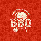 Barbecue seamless pattern and emblem Stock Photos
