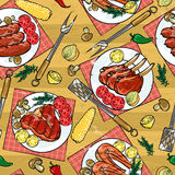 Barbecue seamless pattern Stock Photo