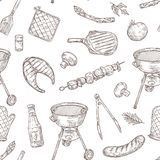 Barbecue seamless pattern. Sketch barbeque chicken grill vegetables fried steak meat picnic party vintage bbq food. Vector texture. Illustration of bbq grill stock illustration