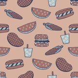 Barbecue Seamless Pattern. Summer cookout with bbq doodles repeat pattern. Barbecue doodle seamless pattern with hotdog, hamburger, watermelon, ice drink, corn Stock Images