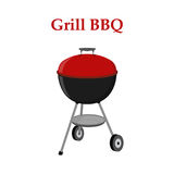 Barbecue set - grill station, closed cap. Picnic vector illustration Stock Photos
