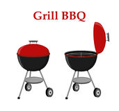 Barbecue set - grill station, opened cap. Picnic vector illustration Stock Photos