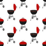 Barbecue set - grill station, opened cap seamless pattern. Picnic vector illustration Royalty Free Stock Images