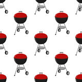 Barbecue set - grill station seamless pattern. Picnic vector illustration Royalty Free Stock Photos