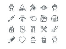 Barbecue. Set of outline vector icons. Includes such as BBQ, Grill, Steak and other. Editable Stroke. 48x48 Pixel Royalty Free Stock Image