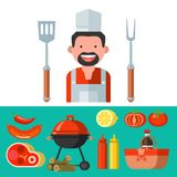 BBQ. Vector illustration. Barbecue set. Vector clip art. Cheerful cute chef, fresh meat, vegetables, ketchup, mustard, wood, barbecue and picnic basket royalty free illustration