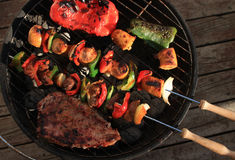 Barbecue shish kabob and steak Stock Image