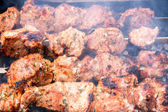 Barbecue a shish kebab pork on skewers over charcoal Royalty Free Stock Photos