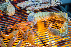 Barbecue shrimp Grill cooking seafood. Stock Images