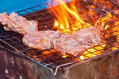 Barbecue in a simple way in wild, collect stones as grill. Outdoor charcoal grilled pork. collect stones as grill stock photos
