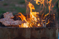 Barbecue in a simple way in wild, collect stones as grill. Outdoor charcoal grilled pork. collect stones as grill royalty free stock image