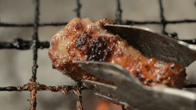 Barbecue Single Chicken Wing, closeup. stock video