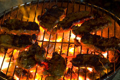 Barbecue sirloin steak grilled. Photo of barbecue sirloin steak cooked on flame grill Royalty Free Stock Photography