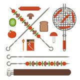 Barbecue Skewer, Grill and Vegetables. Vegetarian picnic and barbeque appliances. Barbecue skewer, bbq grill grates with sasuges, fire sticks, champignon vector illustration