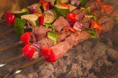 Barbecue on skewers. Roasted meat, tomatoes, cucumbers and some other vegetables on sticks Stock Photos