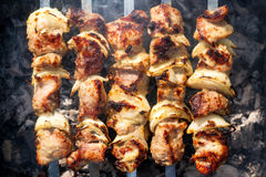 Barbecue skewers with grilled pork meat on the brazier Royalty Free Stock Image