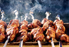 Barbecue skewers with meat Royalty Free Stock Photo