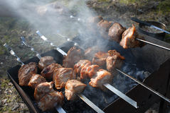 Barbecue skewers with meat on the brazier Stock Image
