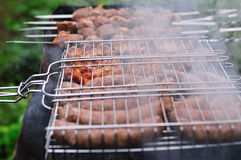 Barbecue in smoke Royalty Free Stock Photo
