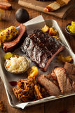 Barbecue Smoked Brisket and Ribs Platter Royalty Free Stock Image