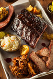 Barbecue Smoked Brisket and Ribs Platter Stock Image
