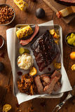 Barbecue Smoked Brisket and Ribs Platter Royalty Free Stock Images