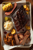 Barbecue Smoked Brisket and Ribs Platter Stock Photos